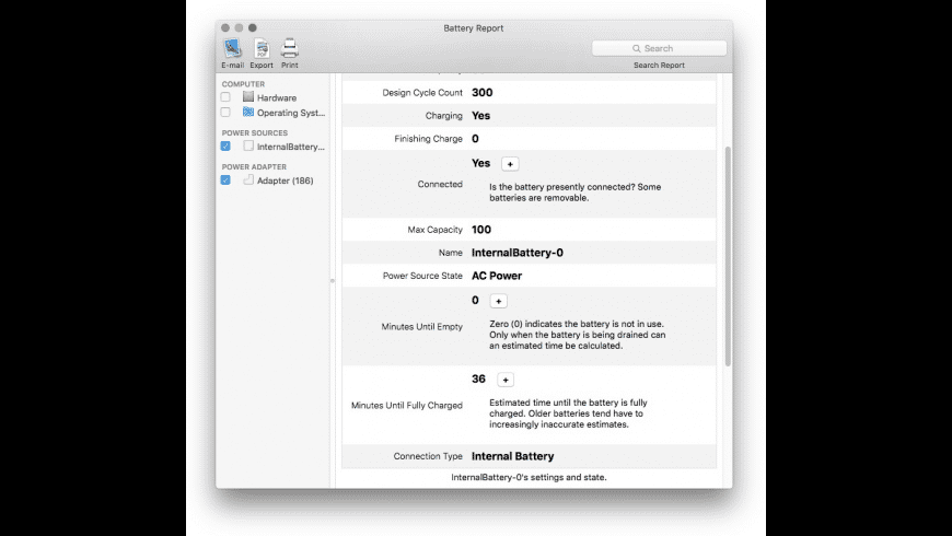 Battery Report for Mac - review, screenshots