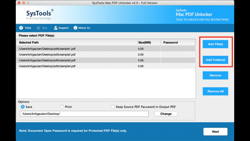 Mac PDF Unlocker for Mac - review, screenshots
