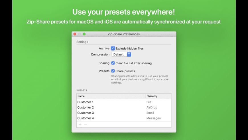 Zip-Share for Mac - review, screenshots