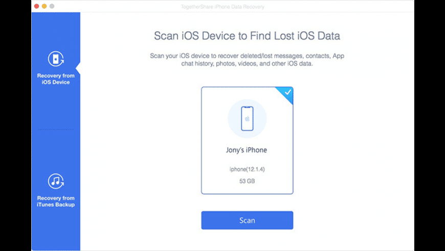 TogetherShare iPhone Data Recovery for Mac - review, screenshots