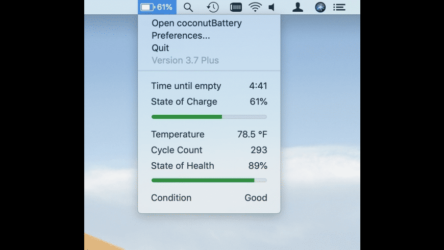 coconutBattery for Mac - review, screenshots