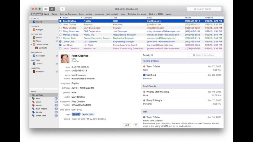 BusyContacts for Mac - review, screenshots