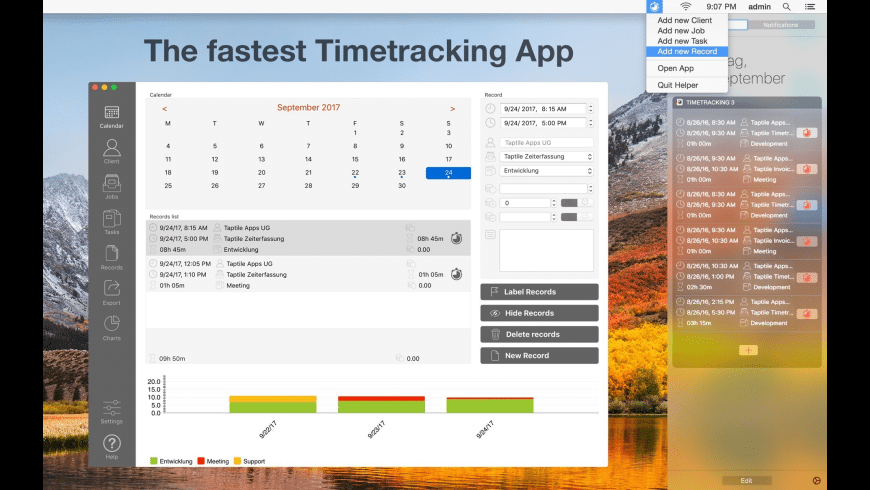 Taptile Timetracking 3 for Mac - review, screenshots
