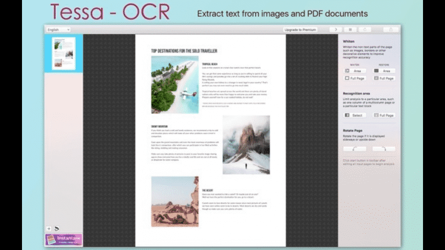 Tessa OCR for Mac - review, screenshots