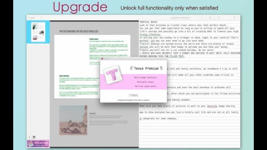 Tessa OCR for Mac - review, screenshots
