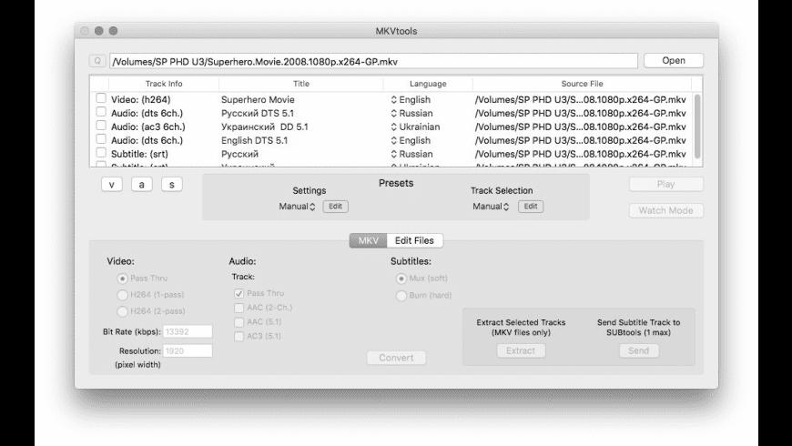 MKVtools for Mac - review, screenshots