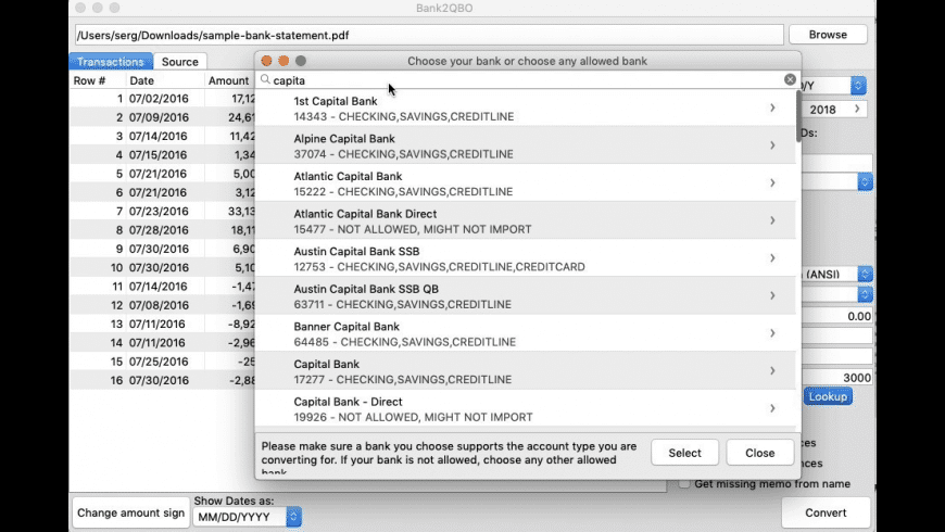 Bank2QBO for Mac - review, screenshots
