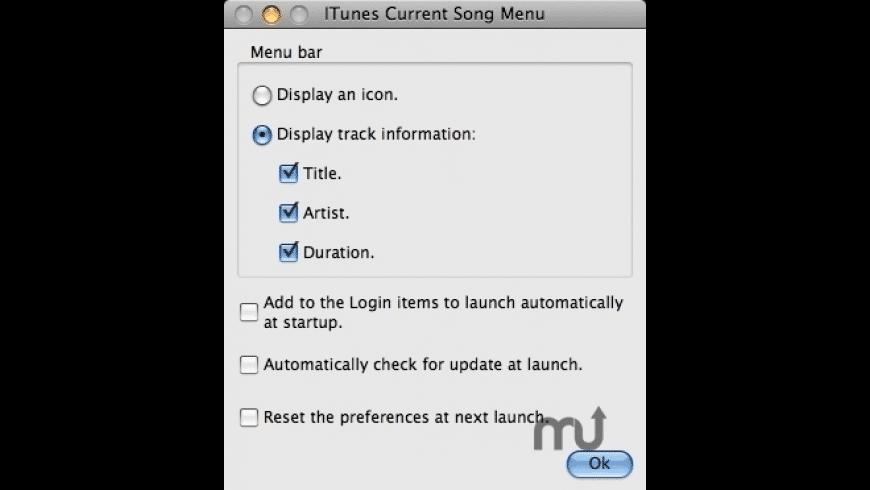 iTunes Current Song Menu for Mac - review, screenshots