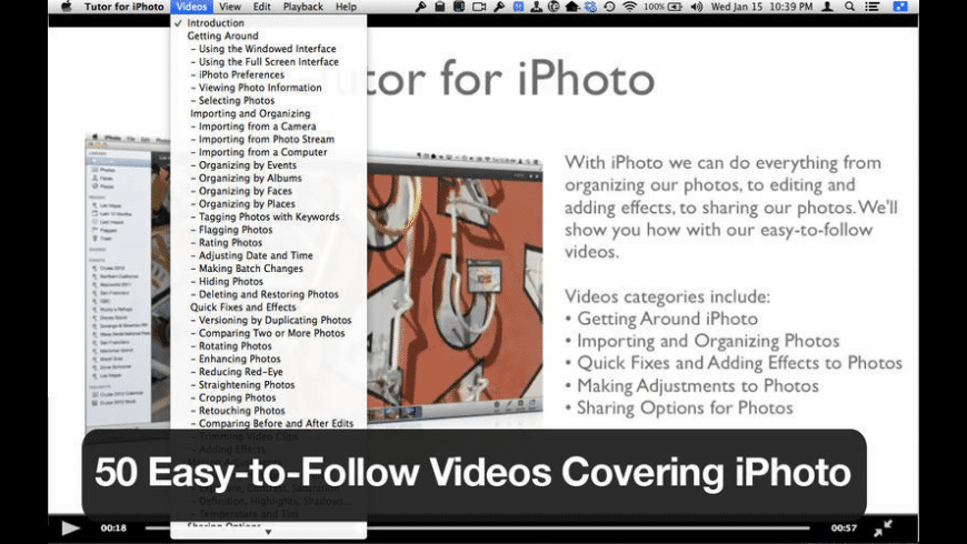 Tutor for iPhoto for Mac - review, screenshots