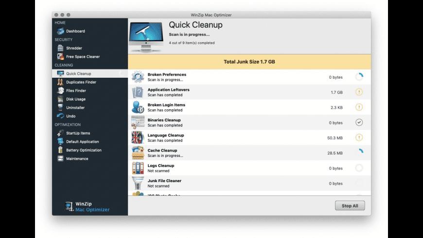 WinZip Mac Optimizer for Mac - review, screenshots