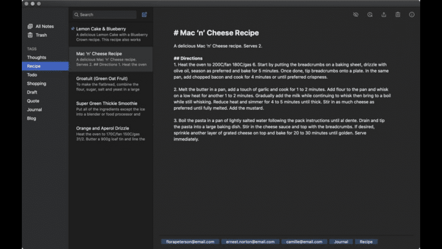 Simplenote for Mac - review, screenshots