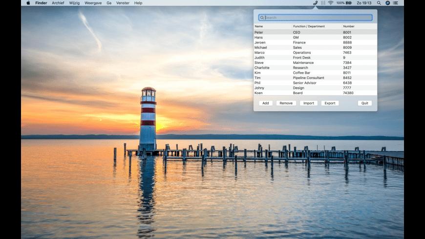 Internal Phone Numbers for Mac - review, screenshots