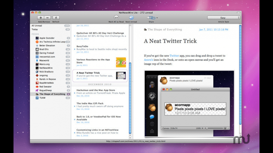 NetNewsWire Lite for Mac - review, screenshots