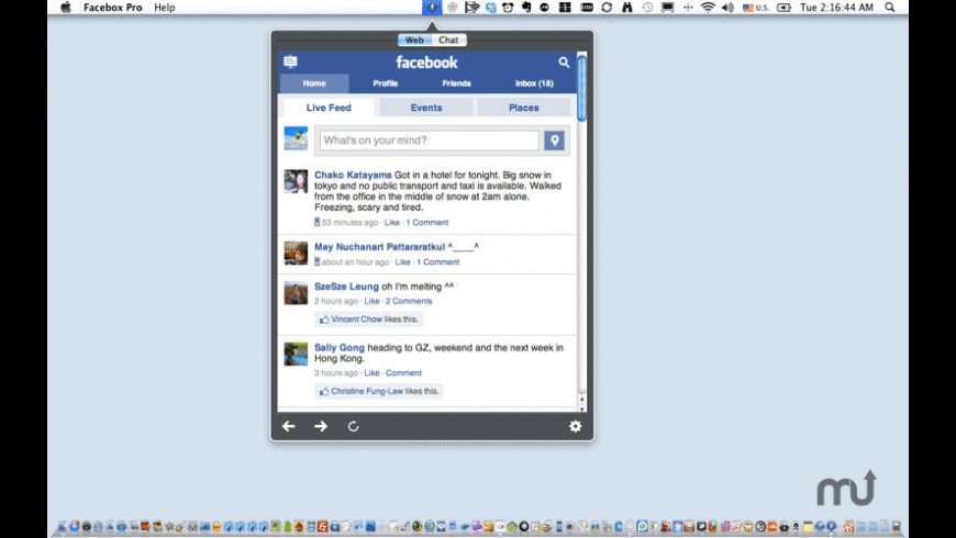 Facebox for Facebook for Mac - review, screenshots