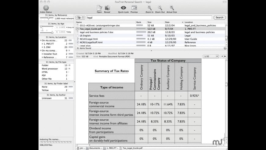 FoxTrot Personal Search for Mac - review, screenshots