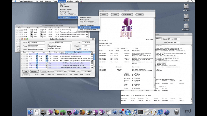 TimeEqualsMoney for Mac - review, screenshots
