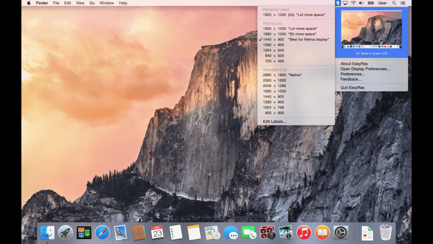 EasyRes for Mac - review, screenshots