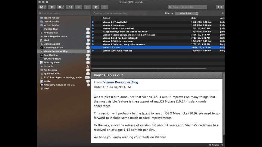 Vienna for Mac - review, screenshots