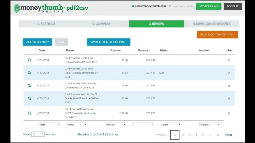 pdf2csv for Mac - review, screenshots