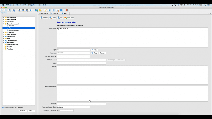 PWMinder for Mac - review, screenshots