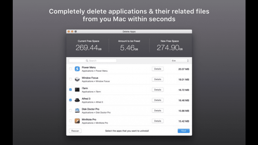 Delete Apps for Mac - review, screenshots
