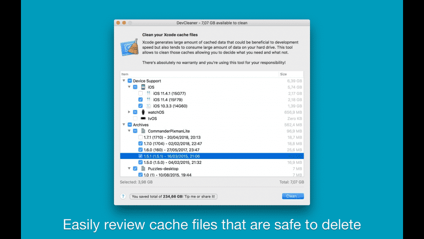 DevCleaner for Xcode for Mac - review, screenshots