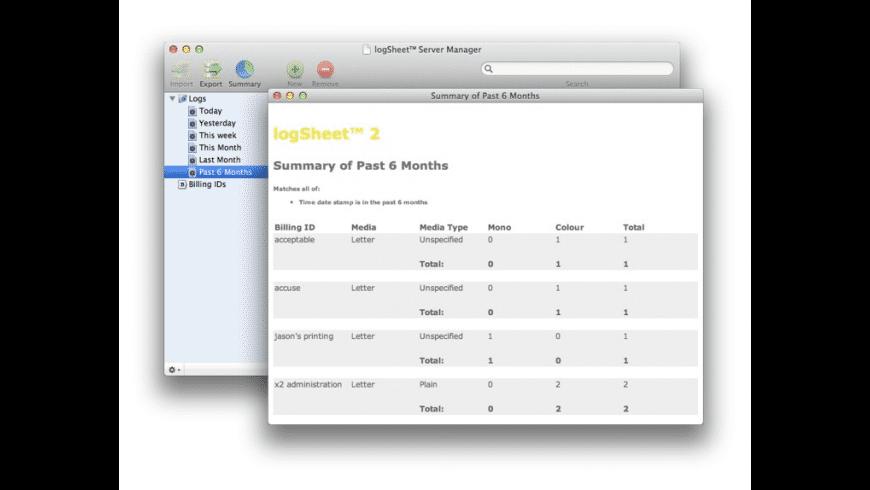 logSheet for Mac - review, screenshots