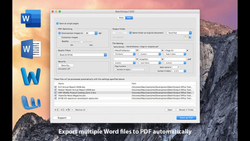 BatchOutput DOC for Mac - review, screenshots