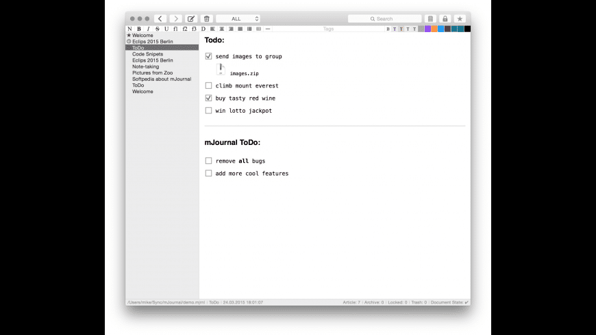 mJournal for Mac - review, screenshots