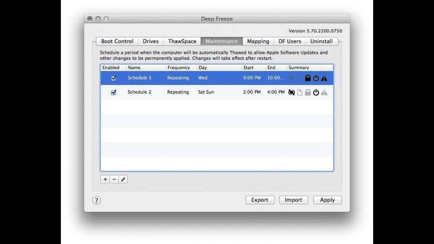 Deep Freeze Mac for Mac - review, screenshots