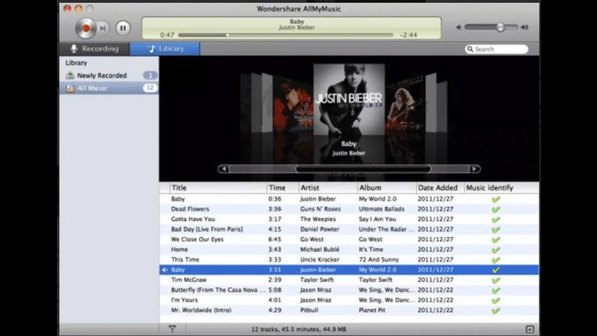 Wondershare AllMyMusic for Mac - review, screenshots
