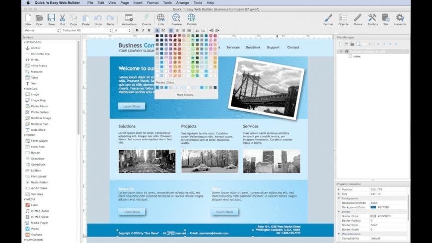 Quick 'n Easy Web Builder for Mac - review, screenshots