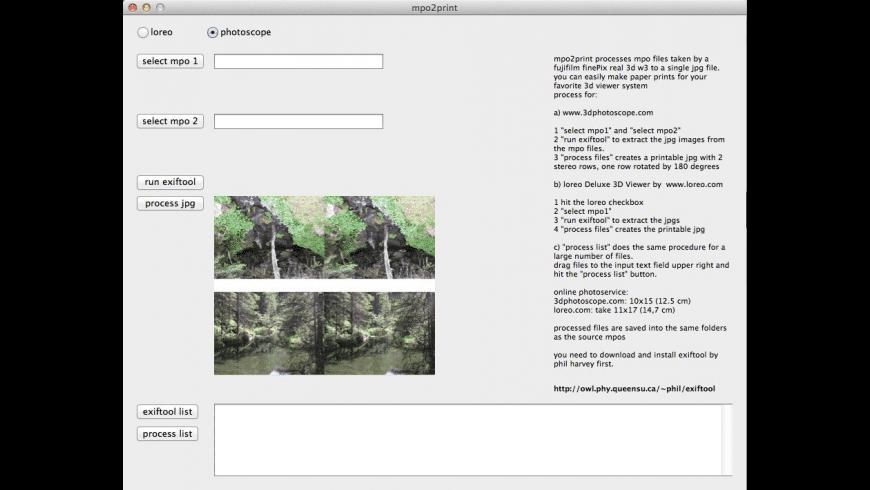 mpo2print for Mac - review, screenshots