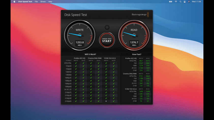 Blackmagic Disk Speed Test for Mac - review, screenshots