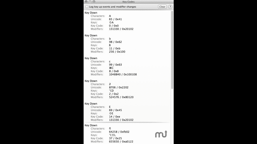Key Codes for Mac - review, screenshots