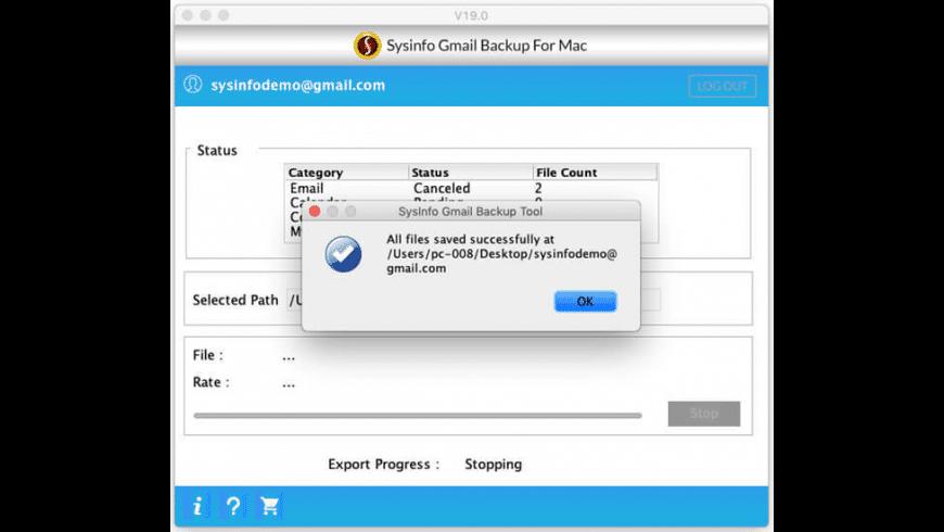 SysInfo Mac Gmail Backup for Mac - review, screenshots