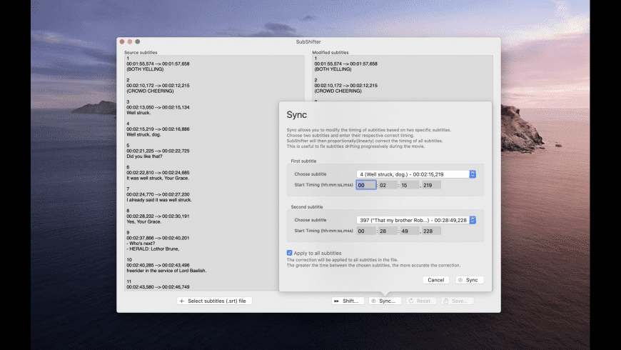 SubShifter for Mac - review, screenshots