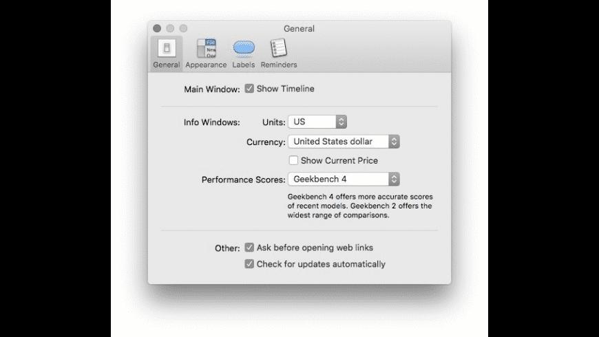 Mactracker for Mac - review, screenshots