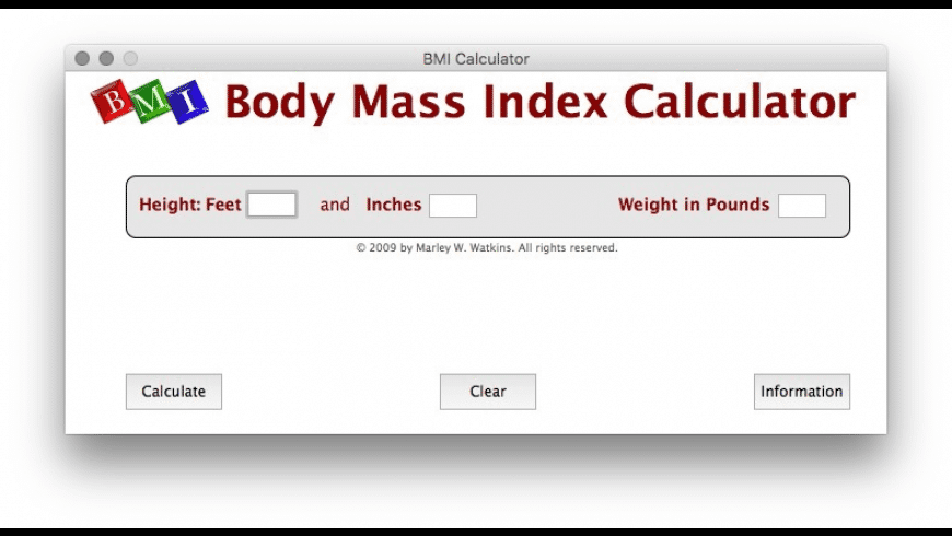 Body Mass Index Calculator for Mac - review, screenshots