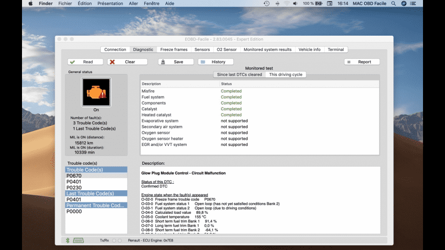 EOBD Facile for Mac - review, screenshots