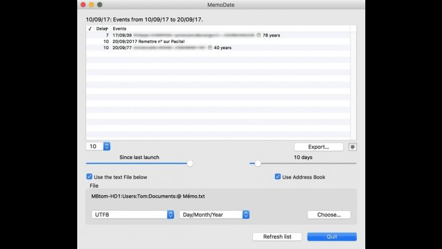 MemoDate for Mac - review, screenshots
