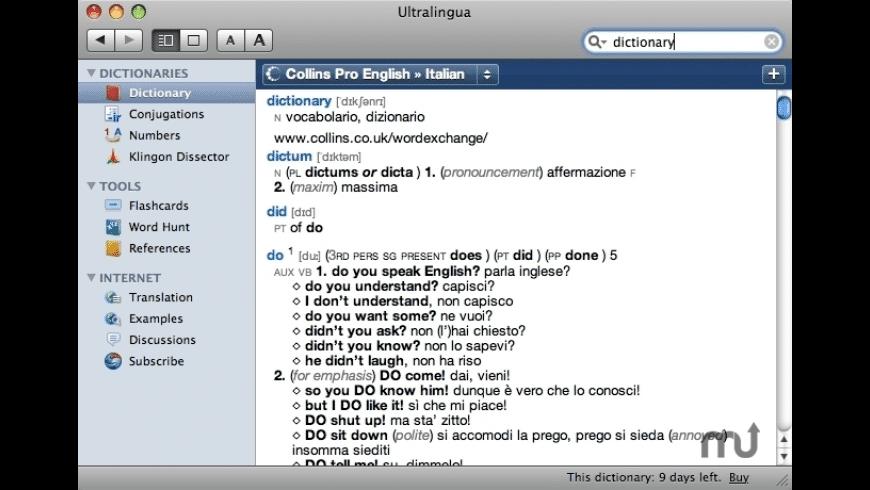 Collins Italian-English Dictionary & Verbs for Mac - review, screenshots