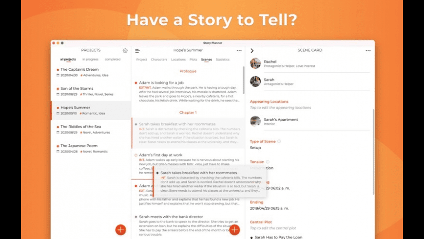Story Planner for Writers for Mac - review, screenshots
