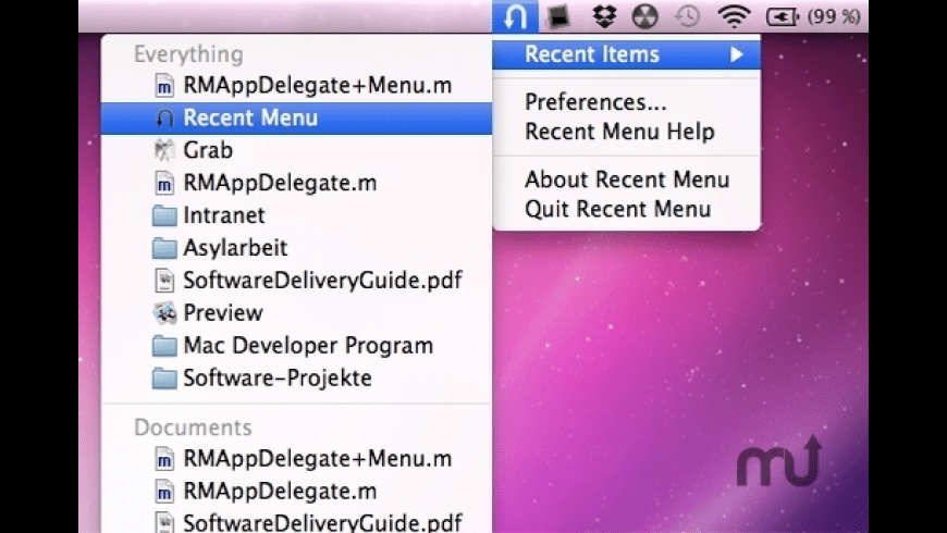 Recent Menu for Mac - review, screenshots