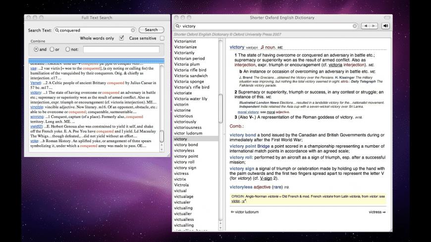 Shorter Oxford English Dictionary for Mac - review, screenshots