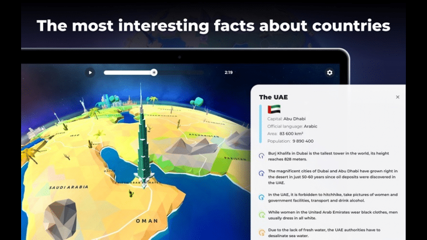 Globe Geography 3D for Mac - review, screenshots