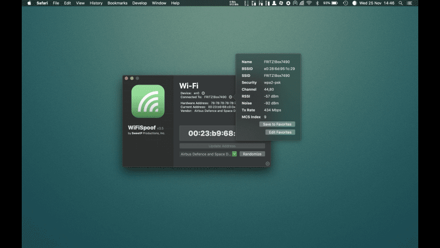 WiFiSpoof for Mac - review, screenshots