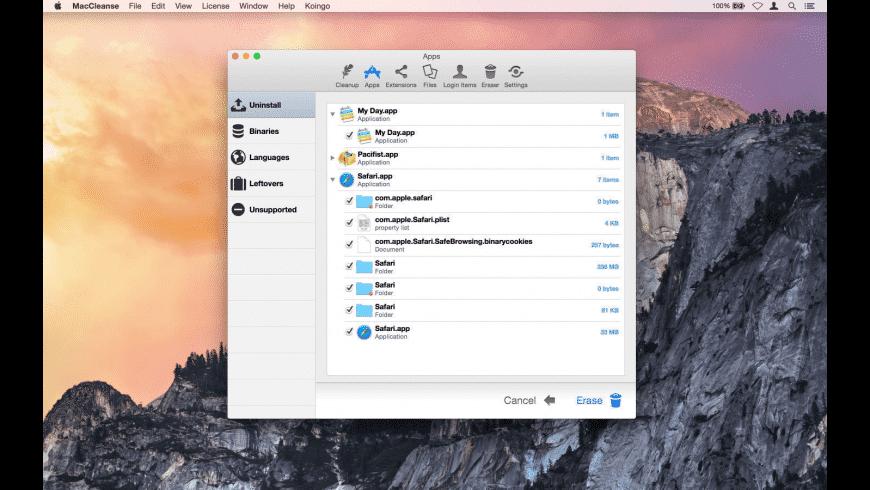 MacCleanse for Mac - review, screenshots