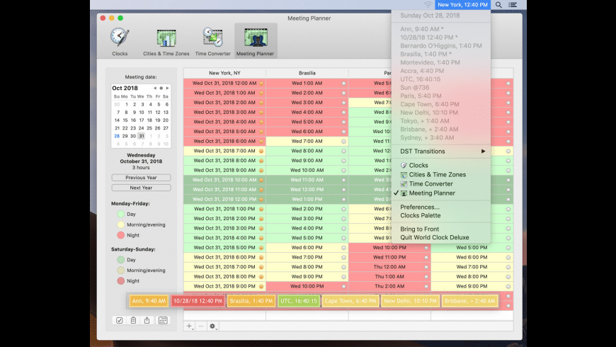 World Clock Deluxe for Mac - review, screenshots