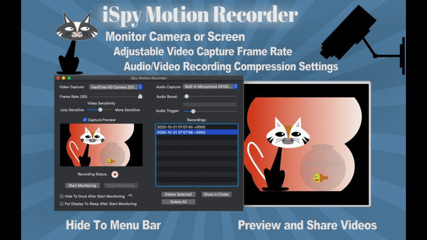 iSpy Motion Detector Recorder for Mac - review, screenshots
